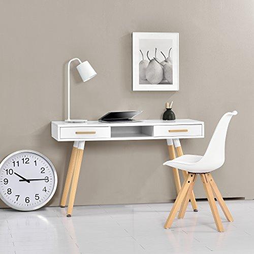 [en.casa] Retro Schreibtisch (75x120x45cm) Weiß matt lackiert Schublade mit Stuhl Weiß