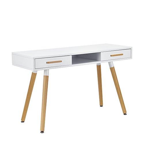 [en.casa] Retro Schreibtisch (75x120x45cm) Weiß matt lackiert mit Schubladen