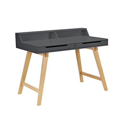 [en.casa] Retro Schreibtisch (85x110x60cm) Grau matt lackiert Schublade