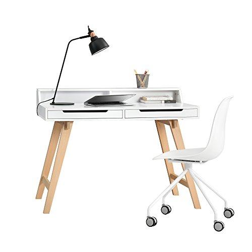 [en.casa] Retro Schreibtisch mit Bürostuhl - weiß - Computertisch / Konsole / Drehstuhl mit Rollen