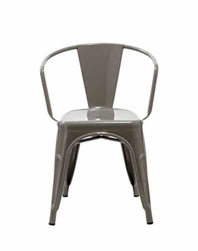 1x esszimmerstuhl grau industrie design stuhl aus metall for Design stuhl metall