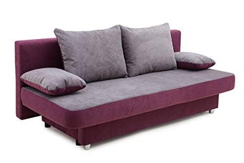 b famous 100699 schlafsofa stoff lila grau 85 x 186 x. Black Bedroom Furniture Sets. Home Design Ideas