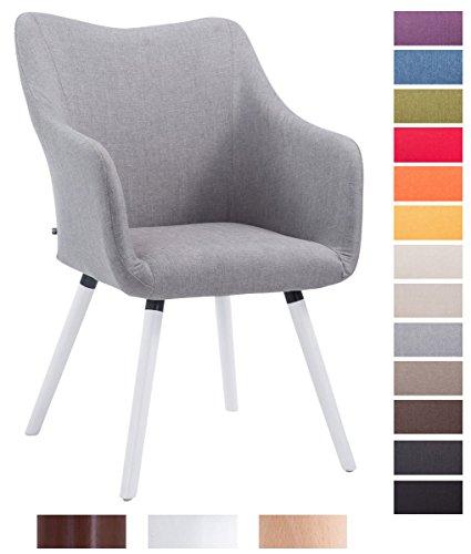 Clp design besucher stuhl mccoy v2 mit armlehne stoff bezug holz gestell sitzfl che - Stuhl mit armlehne grau ...