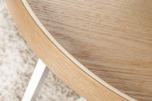 DuNord Design Couchtisch Beistelltisch TRITON 60cm natur weiss Retro Design Tablett Tisch
