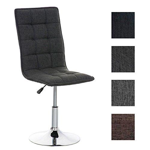 CLP Esszimmer-Stuhl PEKING mit Stoffsitz, Lounge-Sessel Charakter, Sitzhöhe verstellbar 40-54 cm, Sitzfläche drehbar, modern Dunkelgrau
