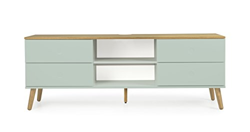 Tenzo 1664-676 Dot Designer TV-Bank Holz, pastellgrün / eiche, 43 x 162 x 60 cm