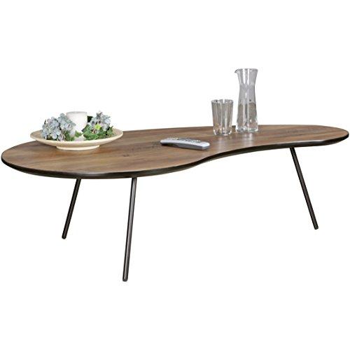 WOHNLING Design Couchtisch ELMO Nieren-Form MDF Holz Walnuss Schwarz Modern 122 x 35 x 65 cm | Design Wohnzimmertisch flach mit Metall-Beinen | Loungetisch Kaffeetisch