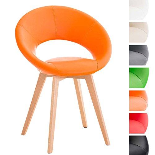 CLP Design Polsterstuhl TIMM mit Kunstlederbezug, Besucherstuhl mit Vierfußgestell, Esszimmerstuhl mit komfortabler Polsterung Orange