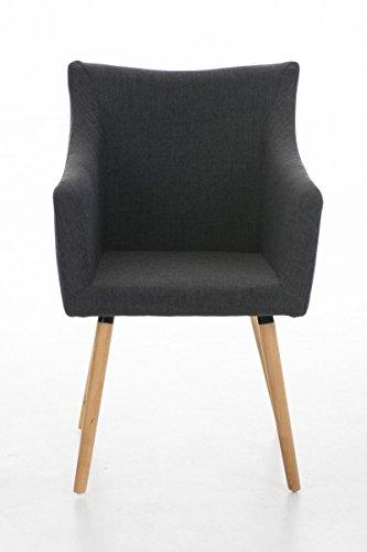 CLP Design Esszimmer-Stuhl MCCOY, gepolstert, Holzgestell, Stoff-Bezug Dunkelgrau