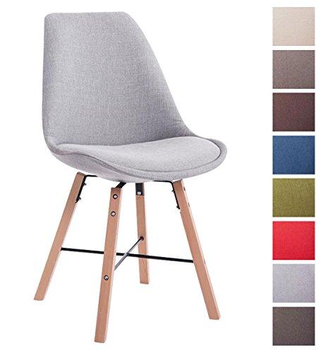 CLP Design Retro Stuhl LAFFONT, Sitz-Bezug Stoff Grau, Holzgestell Farbe natura