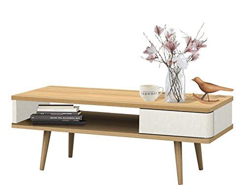 Couchtisch ANNE aus Spanplatte foliert in weiß und eiche im Retro Design
