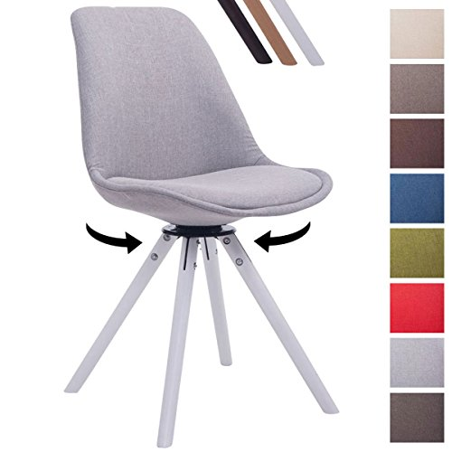 CLP Design Retro-Stuhl TROYES RUND, Stoff-Sitz, gepolstert, drehbar Grau, Holzgestell Farbe weiß, Bein-Form rund