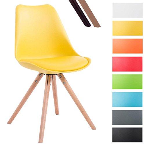 CLP Design Retro-Stuhl TOULOUSE RUND, Kunststoff-Lehne, Kunstleder-Sitz gepolstert Gelb, Holzgestell Farbe natura, Bein-Form rund