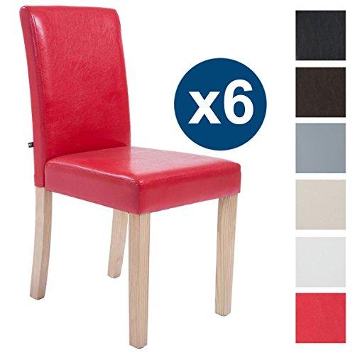 CLP 6 x Esszimmer-Stuhl INA, Holzgestell natura, Gastro-Stuhl Kunstleder Bezug, Sitzhöhe 47 cm Rot