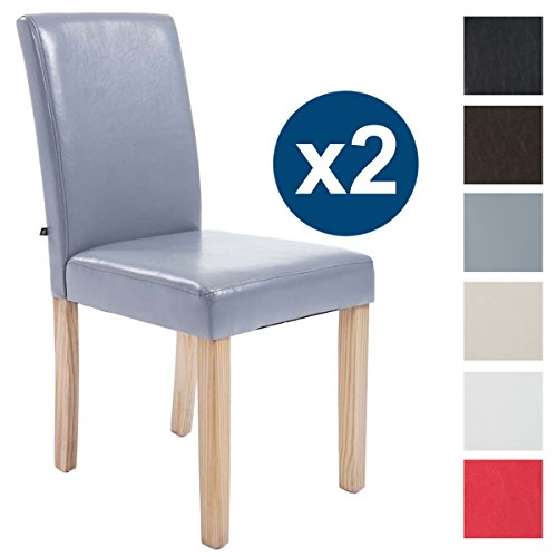 CLP 2x Esszimmer-Stuhl INA, Holzgestell natura, Bezug Kunstleder, Sitzhöhe 47 cm Grau