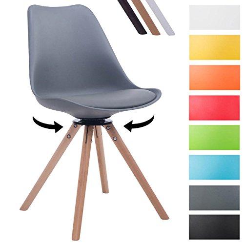 CLP Design Retro-Stuhl TROYES RUND, Kunststoff-Lehne, Kunstleder-Sitz, drehbar, gepolstert Grau, Holzgestell Farbe natura, Form rund