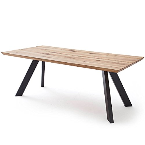 Esstisch Esszimmertisch Tisch Baloo 180 x 90 cm, Modernes Industrie-Design, Massivholz Holz Eiche massiv, Gestell Metall