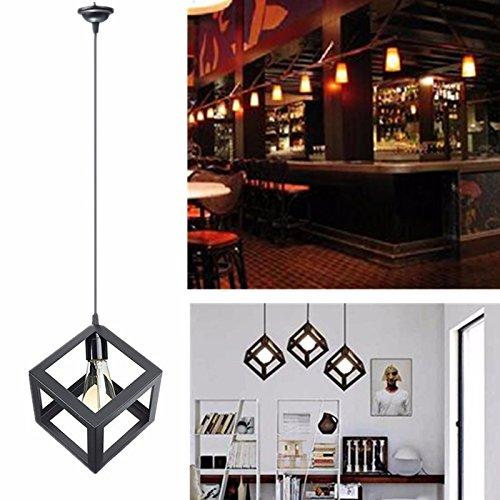 KINGSO Vintage Lampenschirm Edison Pendelleuchte Kronleuchter Deckenleuchte Hängeleuchte mit E27 Fassung Für Café, Wohnung, Bar, Arbeitszimmer, Esszimmer, Keller (Schwarz)