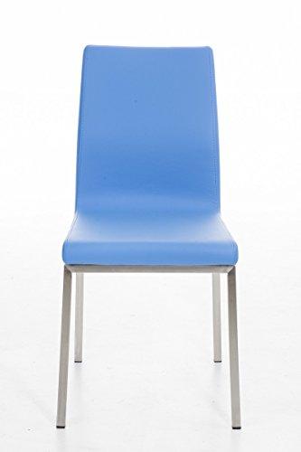 CLP Edelstahl Esszimmer-Stuhl COLMAR mit Kunstledersitz, modernes & schlichtes Design, Sitzhöhe 47 cm, bis zu 11 Farben wählbar Blau