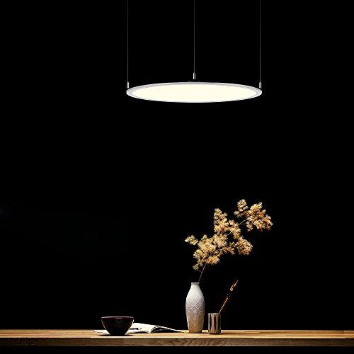 KJLARS Moderne Pendelleuchte weß Bürolampe rund LED Hängeleuchte Aluminium und Acry Hängelampe für Büro Schlafzimmer Esstisch Wohnzimmer Panellampe Leuchtmittel(6000K-70cm)