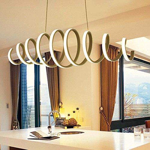 KJLARS Modernen spiral Pendelleuchte LED Hängeleuchte Haengelampe Schlafzimmer Esstisch Aluminium Leuchtmittel (Kühlweiß)