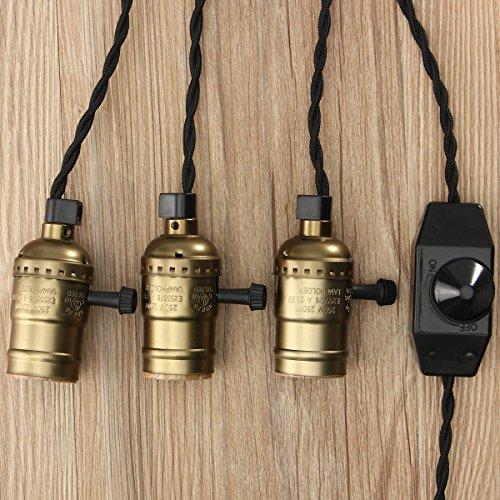 KINGSO Vintage Retro Hängeleuchte Edison Antike Pendelleuchte DIY Lampe mit Dimmbarem Schalter und Stecker, 3 E27 Fassungen, Textilkabel Imitation Bronze