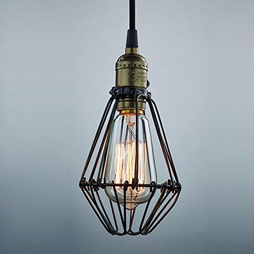 KINGSO E27 Lampenfassung Vintage Retro Pendelleuchte Hängeleuchte Loft Käfig Lampe Industrielampe (Leuchtmittel exklusive)