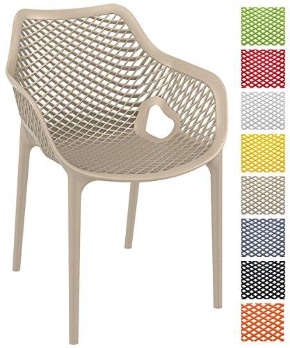 CLP Stapel-Stuhl AIR XL, Bistrostuhl stapelbar, max. Belastbarkeit: 130 kg, Gartenstuhl Kunststoff, Sitzhöhe 44 cm, tolle Wabenoptik schlamm