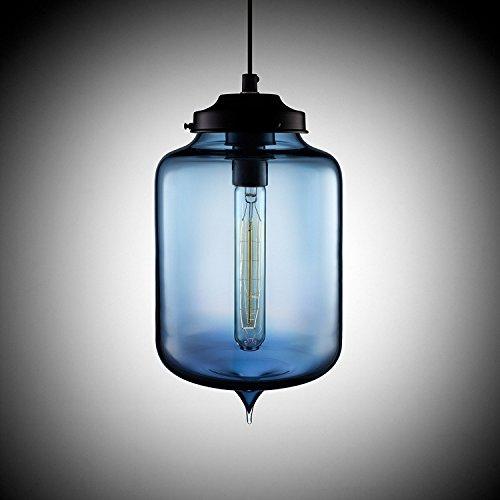 KJLARS Leuchtmittel Glas Pendellampe Hängeleuchte Modern Hängelampe Klassische Pendelleuchte im Essentisch (Blau)