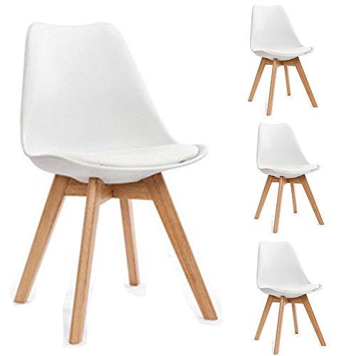 4-er Set Moderner Tulpe Essensstuhl mit gut gepolsterte Kunstleder Kissen ,Eiche Esszimmerstühle 4 Stck, 82 x 52 x 48 cm ,Weiß