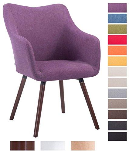 CLP Design Besucher-Stuhl MCCOY V2 mit Armlehne, Stoff-Bezug, Holz-Gestell, Sitzfläche gepolstert Lila, Gestellfarbe: walnuss