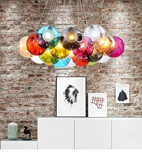 kjlars modern pendelleuchte kreativ pendellampe bunte glas h ngeleuchte mit 19 lichter f r. Black Bedroom Furniture Sets. Home Design Ideas