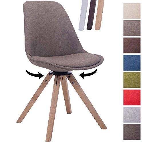 CLP Design Retro-Stuhl TROYES SQUARE, Stoff-Sitz gepolstert, drehbar taupe, Holzgestell Farbe natura, Bein-Form eckig