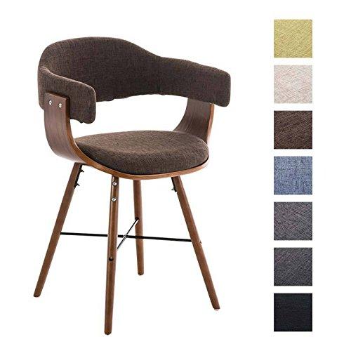 CLP Retro Esszimmer-Stuhl BARRIE V2 Stoff, Holzgestell walnuss, Gastro-Stuhl mit Armlehne, gepolstert, modern Braun
