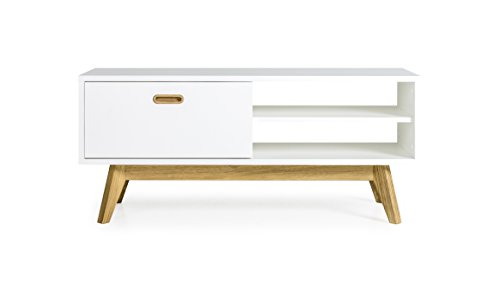 Tenzo 2161-001 Bess Designer TV-Bank Holz, weiß / eiche, 43 x 114 x 50 cm