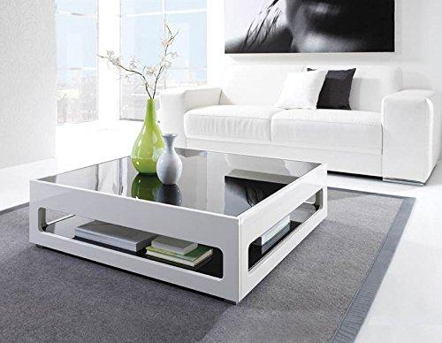 Couchtisch weiß, Breite: 93 cm, Höhe: 27 cm | Hochglanz | schwarze Glastischplatte | | Wohnzimmertisch | Sofatisch