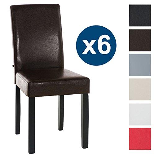 CLP 6 x Esszimmer-Stuhl INA, Holzgestell schwarz, Gastro Stuhl Bezug Kunstleder, Sitzhöhe 47 cm Braun
