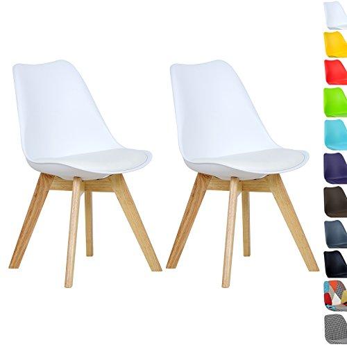 WOLTU BH29ws-2 2 x Esszimmerstühle 2er Set Esszimmerstuhl Design Stuhl Küchenstuhl Holz, Neu Design,Weiß