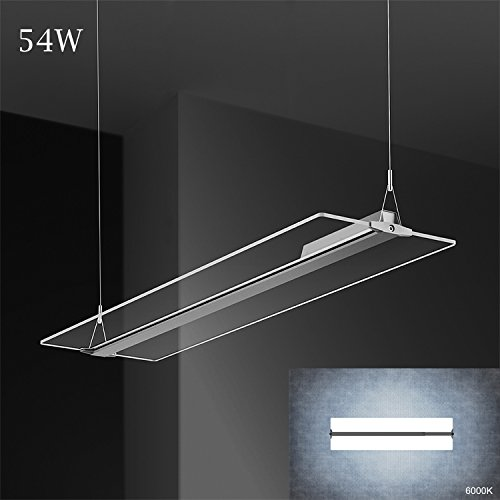 KJLARS LED Pendelleuchte Büroleuchte Deckenleuchte 54W Hängeleuchte ,1200*315*46mm, 6000K Acryl stoff Panelleuchte für Büro ,Essenzimmer,Arbeitszimmer