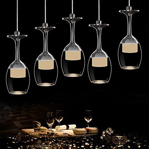KJLARS Moderne Hängelampe Glaslampe mit 5 Weinglas Pendelleuchte Acyle Glasschirm Pendellampe Hängeleuchte für esstisch, Wohnzimmer, Restaurant, cafe (Warmweiß)
