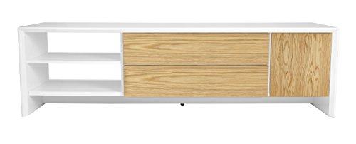 Tenzo 5944-454 Profil Designer TV Bank, 44 x 150 x 47 cm, weiß / eiche furniert
