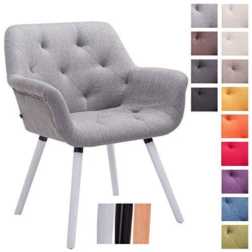 CLP Besucher-Stuhl CASSIDY, Stoff-Bezug, belastbar bis 150 kg, Retro-Stuhl mit Armlehne, sesselförmiger Sitz, gepolstert, Sitzhöhe 45 cm Grau, Holzgestell Farbe weiß