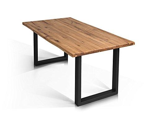 TOBAGO Baumkantentisch Esstisch Wildeiche Holztisch Massivholztisch Esszimmertisch Tisch Baumkante Metallfuß schwarz lackiert 160 x 90 cm, 160 x 90 cm