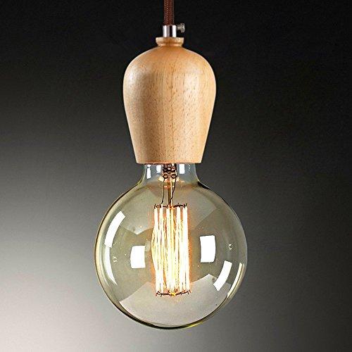 KJLARS E27 Lampenfassung Kabel Edison Vintage Retro Holz Pendelleuchte Lampenhalter Hängelampe (Holzfarbe)