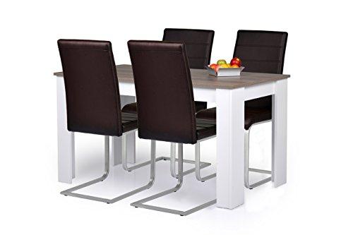 Agionda® Esstisch + Stuhlset : 1 x Esstisch Toledo Sandeiche Nebraska 120 x 80 + 4 Freischwinger braun