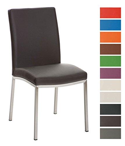 CLP Edelstahl Esszimmer-Stuhl GRENOBLE, modern, Sitzhöhe 48 cm Braun