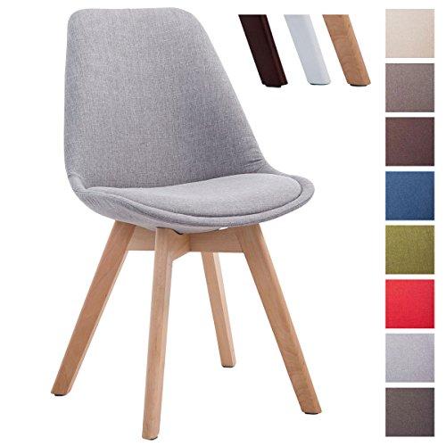 CLP Design Retro Stuhl BORNEO V2, Besucherstuhl mit Holz-Gestell, Küchenstuhl mit Stoff-Bezug Grau, Gestellfarbe: natura