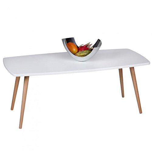 Wohnling Retro Couchtisch SCANIO 110 x 50 x 42 cm MDF Matt Füße Buche weiß