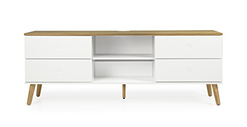 Tenzo 1664-454 Dot Designer TV-Bank Holz, weiß / eiche, 43 x 162 x 60 cm