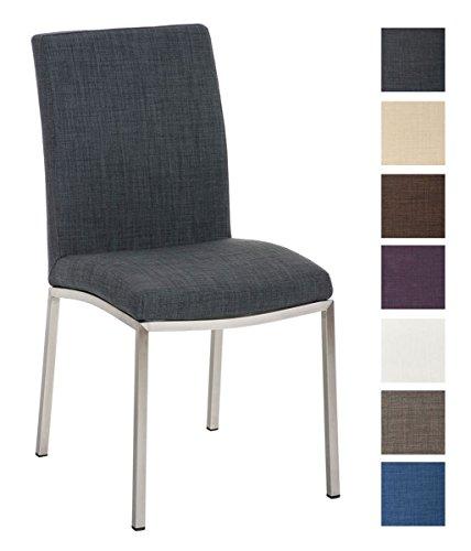CLP Design Edelstahl Esszimmer-Stuhl GRENOBLE mit Stoffsitz, Sitzhöhe 48 cm Dunkelgrau